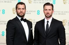 Henry Cavill and Chris Evans at the 2015 BAFTAs