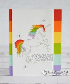 "CARD This ""Make Your Dreams Come True"" rainbow unicorn card is such a ""wow"" card. It's striking, bold and bright. The unicorn is colored with the Stampin' Horse Cards, Stampin Up Catalog, Card Tutorials, Rainbow Unicorn, Paper Pumpkin, Color Card, Kids Cards, Homemade Cards, Cards"