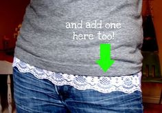 lace added to v-neck line & bottom of shirt; going to have to use this on my shirts that have shrunk to be too short.