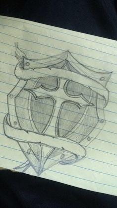 Cross/shield tattoo