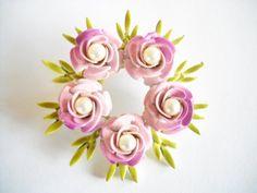 Vintage Brooch Pin Enamel Lavender Pink Flowers by FindCharlotte