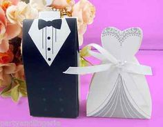Wedding dress and #black tux tuxedo favour boxes place cards bride #groom #sweets,  View more on the LINK: http://www.zeppy.io/product/gb/2/182169385054/
