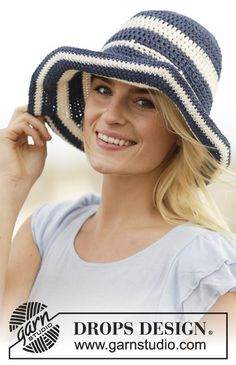 Summer Stripes / DROPS 162-31 - Crochet DROPS hat with stripes in Bomull-Lin or Paris.
