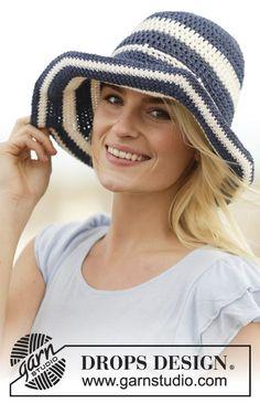 Cappello DROPS lavorato all'uncinetto a strisce in Bomull-Lin o Paris. Modello gratuito di DROPS Design.
