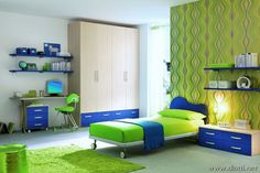 green and blue study and bedroom