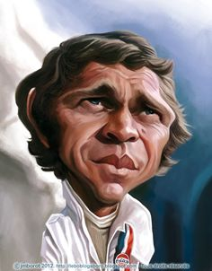 Caricature of American actor Steve McQueen  by Jean Marc Borot