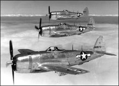 P-47 Thunderbolts in formation Pre D-day no invasion stripes.