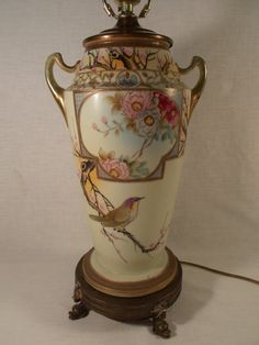 Nippon Porcelain Urn Lamp by TabletopTreasure on Etsy