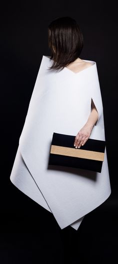 Sophie Clutch | minimalist design by IF irinaflorea | black leather and wood