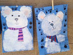 K:  The Three Snow Bears by Jan Brett, polar bears with white paint/oil pastels