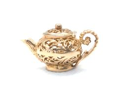 A vintage gold Teapot charm in a lovely decorative pierced design, with a lid that opens. Vintage Charm Bracelet, Silver Charm Bracelet, Silver Charms, Teapot, Charmed, Antiques, Bracelets, Gold, Design