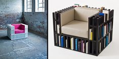 Arm chair with bookshelf compartments , book storage , multifunctional chair