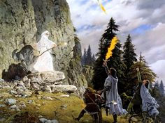 Ted Nasmith - The Lord of the Rings Scene Gandalf comes back as Gandalf The White Tolkien Books, Jrr Tolkien, Hobbit Art, The Hobbit, Sci Fi Fantasy, Dark Fantasy, Legolas, Gandalf, Middle Earth