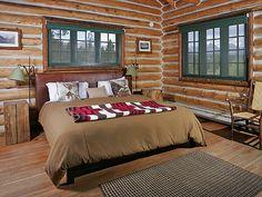 Idaho Rocky Mountain Ranch, Idaho Log cabin room www.rusticvacations.com