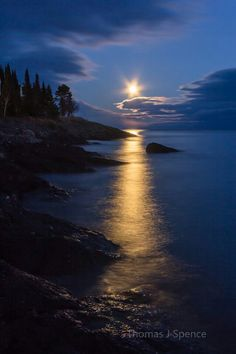 Full Frost Moonrise ... a serene November reflection on Lake Superior. | by Thomas J Spence