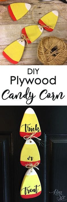 Make your own oversized candy corn out of plywood with either a scroll or jig saw. A super fast and easy project, and with so many uses!.jpg