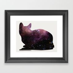 Willow the Galaxy Cat! Framed Art Print by All Is One #print #prints #framedprint #home #decor #cat #cats #space #universe #galaxy #cosmic #cosmos #cute #room #wall #love #xoxo #art #artwork