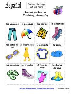 FREE Spanish Clothing and Accessories PICTURE Notes product from ...