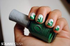 Here's an easy way to paint shamrocks on your nails! Click to learn how to make this nail art design for St. Patrick's Day!