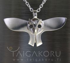 Pöllökoru ,  hopeakoru, riipus, hopea pöllö, kaulakoru,  huuhkaja,   Owl jewelry from Finland ~