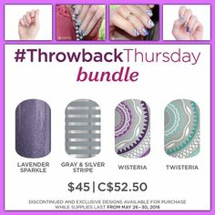 This week for throw back Thursday, they've given us a bundle. And omg, I'm in love with this combo!! This bundle includes 2 retired wrap, 1 current wrap, and 1 brand new exclusive wrap made specifically for this bundle. This TBT bundle is only available from now until 11:59pm May 30th (or while supplies last). Get yours before they are gone at https://toutzen.jamberry.com/us/en/shop/products/twisteria-bundle