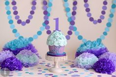 Purple and teal smash cake by MadHouse Bakes