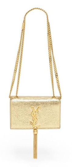 Like a piece of art...Saint Laurent Metallic Leather Crossbody Bag