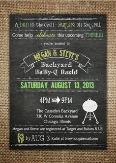 Baby Shower Invitation : Baby BBQ Backyard BaBy-Q