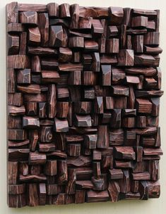 Highly distinctive expressionistic artwork by Canadian wood artist Olga Oreshyna, unique compositions of richly textured surfaces and intricate wood blocks shape Wooden Art, Wood Wall Art, Wood Sculpture, Wall Sculptures, Acoustic Diffuser, Eco Design, 3d Art, Acoustic Design, Industrial Style Furniture