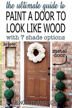 Tired of having an ugly metal or fiberglass front door? The entrance of your home is the first impression which makes painting wood grain on a steel door a budget-friendly way to upgrade - if it's done right! This easy step-by-step tutorial with video will show you how to make a metal door look like stained wood with latex paint samples and glaze! This process is also great for interior doors, fiberglass doors and even garage doors. Also, you can apply a more rustic farmhouse other shades Home Renovation, Furniture Projects, Diy Projects, Paint Samples, Diy Décoration, Painted Doors, Diy Home Improvement, Decorating On A Budget, Interior Doors