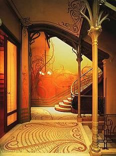 Victa Horta Landing. Tassle House This entrance way is perfect example of Art Nouveau with the curving, long long lines which have a long, sinuous flowing motion. The images reflect nature and work together in harmony.