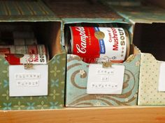 SOUP-ER RECYCLED STORAGE: Are your canned goods getting lost in the shuffle? If you're tired of toppling towers of cans in the pantry, try this eco-friendly idea. Take an old cardboard soda box, coat it in Modge Podge, and then cover it with decorative paper. Cut an opening in the back to restock cans so the older ones rotate to the front.