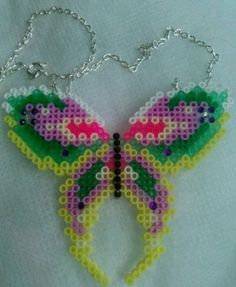 Hama bead butterfly necklace by CrystalandLacey