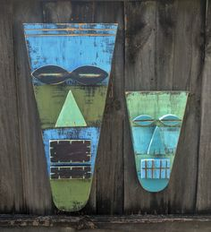 VLAD & ALEX, Large And Small Tiki Set, Wood Sculpture, Tiki Mask, Primitive Wall