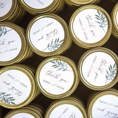 Custom Wedding Favor Candle - Botanical Thank You - Foxblossom Co. Honey Wedding Favors, Creative Wedding Favors, Inexpensive Wedding Favors, Elegant Wedding Favors, Custom Wedding Favours, Edible Wedding Favors, Candle Wedding Favors, Candle Favors, Wedding Favors For Guests