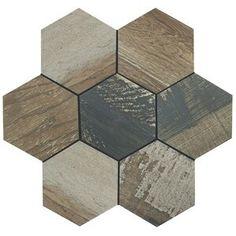 EliteTile Garde Hex x Porcelain Wood Look Tile in Catan Shadow Engineered Hardwood Flooring, Vinyl Plank Flooring, Hardwood Floors, Wood Look Tile, Hexagon Tiles, Reno, Stone Tiles, How To Distress Wood, Wall Tiles