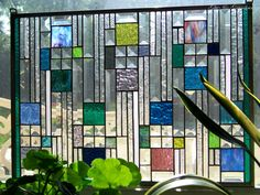 Blue Bevels III Stained Glass Panel by GlitzAndGrandeur on Etsy, $234.00