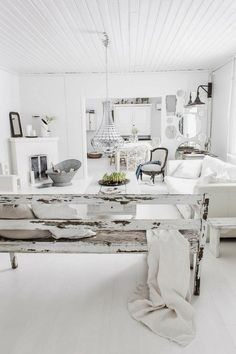 ............elegant rustic white on white interior. Brocante style chic