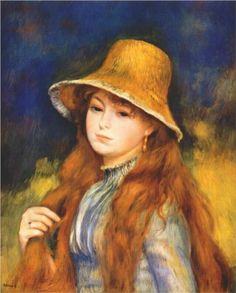 Girl with a straw hat - Pierre-Auguste Renoir, 1884. There is something about her eyes...