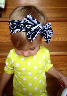 Aztec Large Bow, Black and White Jersey Knit Headband. Aztec Print Bow Headband for Newborn Photo Prop/Babies/Girls. on Etsy, $8.25