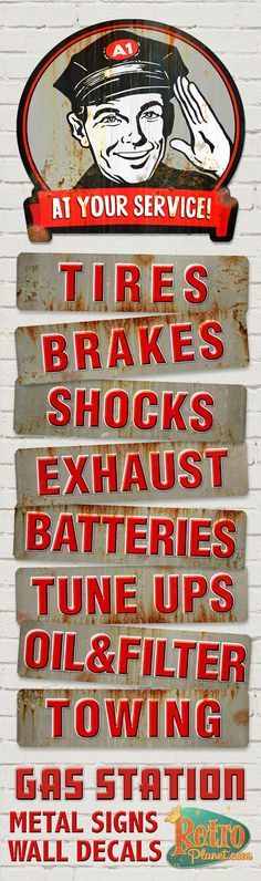 Gas Station Themed Metal Signs and Wall Decals! Perfect for a man cave, garage, auto shop, or gas station!  At Your Service