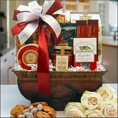 This elegant gourmet gift basket is perfect for any corporate event or celebration. It is filled with the finest gourmet products available. The award winning Kings Cupboard dessert sauce will surely delight any who tastes it.