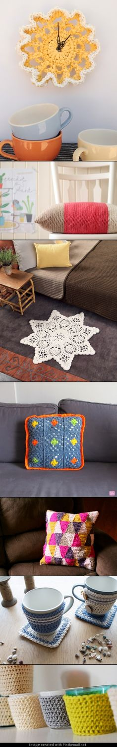 Awesome Crochet and knitted DIY ideas I don't crochet, but could buy a thrift shop knitted doily and clock kit. Diy Crochet, Crochet Crafts, Crochet Projects, Weaving Projects, Irish Crochet, Crochet Ideas, Diy And Crafts Sewing, Diy Crafts, Diy Pins