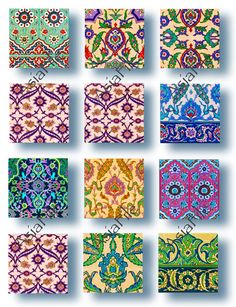 Arabic Islamic Tiles 1 Inch Squares Digital Printable Scrapbooking Decoupage Collage Paper Crafts In Islamic Tiles, Islamic Art, Serving Tray Decor, Painted Stools, Arabic Pattern, Making Resin Jewellery, Tile Patterns, Pottery Patterns, Islamic Patterns
