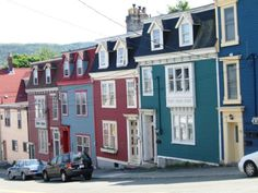 Colourful row houses in St. St John's, Newfoundland, House Colors, Google Images, Places To Travel, The Row, Multi Story Building, Street View, Ireland