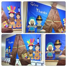 Thanksgiving bulletin board. Pilgrims and Indians cut on paper dolls Cricut cartridge. Decorated teepee w/ribbon and drawings. Took kids pics wearing Indian headdress or Pilgrim hat and stapled pics onto paper where they listed things they were thankful for. - Tanya Price