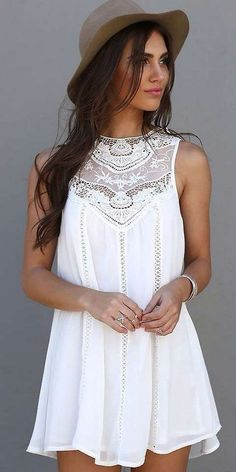 White Lace Hollow-out Sleeveless Cotton Blend Mini Dress - Mini