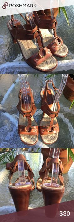"""Michael Kors Brown High Heels Shoes Size 8.5 Michael Kors High Heels Open Toe Ankle Strap Sandals Shoes Size 8.5 Genuine leather uppers and soles Heel measures about 3 3/4"""" Very good condition Super fast shipping with delivery confirmation KORS Michael Kors Shoes Heels"""