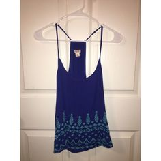 Blue and Teal tribal tank top Blue and teal tribal print tank top Tops Tank Tops