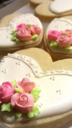 Pretty in Pink Heart Wedding Favor Cookies with by MarinoldCakes, $45.00